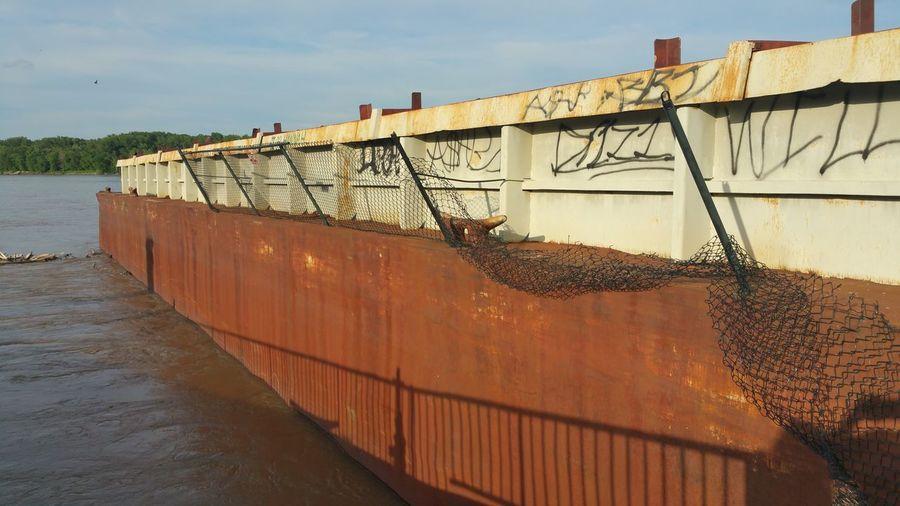 Taking Photos Graffiti Docked Docked Barge Boat Water River Crashed Barge Barge Barge Tied Up Abused