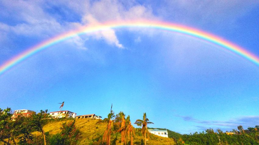 Signs of hope after our Islands were hit by two category 5 hurricanes in exactly two weeks. That makes about 8 hurricanes I've been through. No power. Lots of stress and little time. Only WIFI for me. Hello to all my friends. See you soon. Rainbow🌈 Sky Beauty In Nature St. Croix USVI