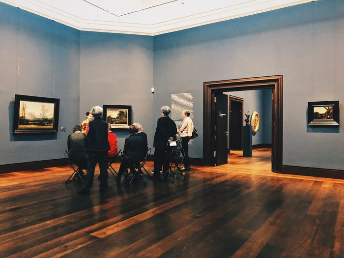 Museum Lecture Viewers Elderly Hamburger Kunsthalle Kunsthalle Hamburg Art Museum Of Modern Art Museum Indoors  Adult Men Sitting Group Of People Architecture Real People Women People