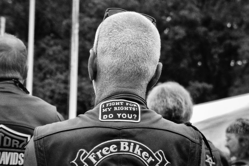 Biker of Biker Union during a national parade. Adult Biker Black & White Black And White Blackandwhite Day Fine Art Fine Art Photography Free Bikers Men Monochrome Motorbike Motorcycle Motorcyclist Only Men Outdoors People Portrait Real People Rear View Rocker Rockers  Togetherness Two People Blackandwhite Photography