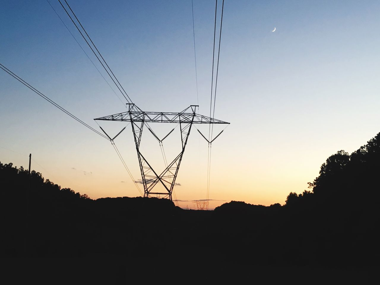 cable, electricity, silhouette, connection, electricity pylon, power line, sunset, fuel and power generation, power supply, low angle view, tree, technology, no people, sky, outdoors, nature, landscape, scenics, clear sky, beauty in nature, day