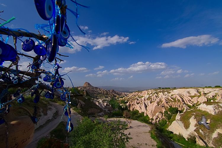 Pigeon Valley in Uçhisar Fairy Chimneys Pigeon Valley Cappadocia Kappadokya SONY A7III Turkey Nazar Knycl Sky Cloud - Sky Nature Architecture Built Structure Building Exterior City Beauty In Nature No People Day Road Mountain Scenics - Nature Outdoors Land Blue