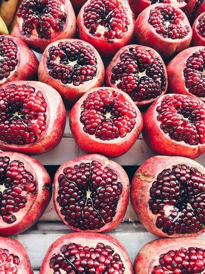 Full frame shot of pomegranate in market