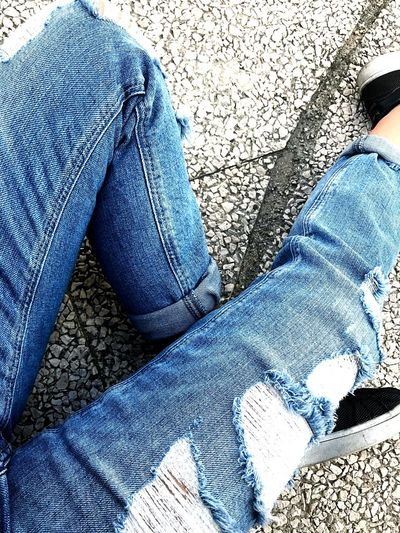 Jeans Human Leg Blue High Angle View Day Human Body Part Close-up Floor M Shoes EyeEmNewHere