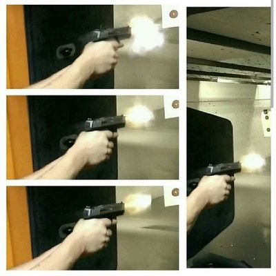 Some muzzle flashes caught by @ksaki2130 from my SmithAndWesson with Federalammo 124 grain