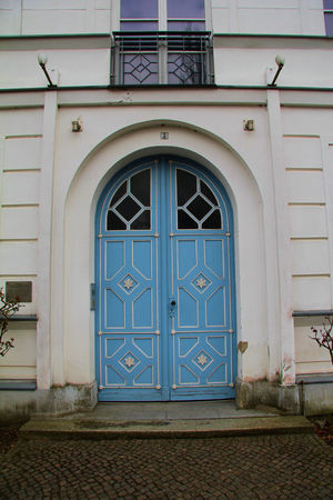 Architecture Blue Building Exterior Built Structure Closed Day Door Entrance Façade No People Outdoors Putbus Safety Security