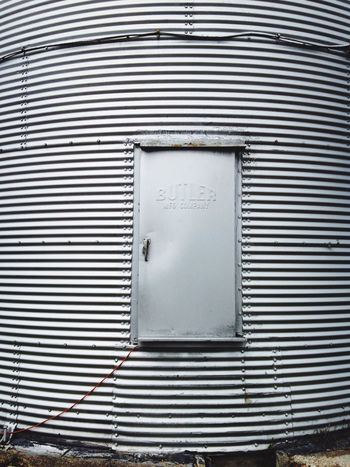 Door to the silo, farm, corrugated metal