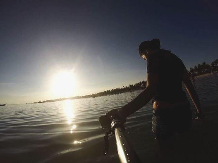 Sea Women Paddleboarding Sport Silhouette Standing