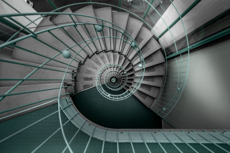 Spiral Spiral Staircase Spiral Stairs Absence Architecture Built Structure Circle Concentric Day Design Diminishing Perspective Directly Below Full Frame Geometric Shape High Angle View Indoors  No People Pattern Railing Shape Spiral Spiral Staircase Spirals Staircase Steps And Staircases