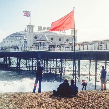 Brighton Pier Brighton Brighton Beach England Redflag Sea The Street Photographer - 2015 EyeEm Awards Uk Mods Capture The Moment