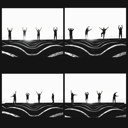 Friendship Silhouette Men Standing People Adult Only Men Outdoors Multiple Image Sky Horizontal Four 4 Poses Love Happy Port Dickson Concrete Pattern Funny Fat Fit Fitness Black White Black And White