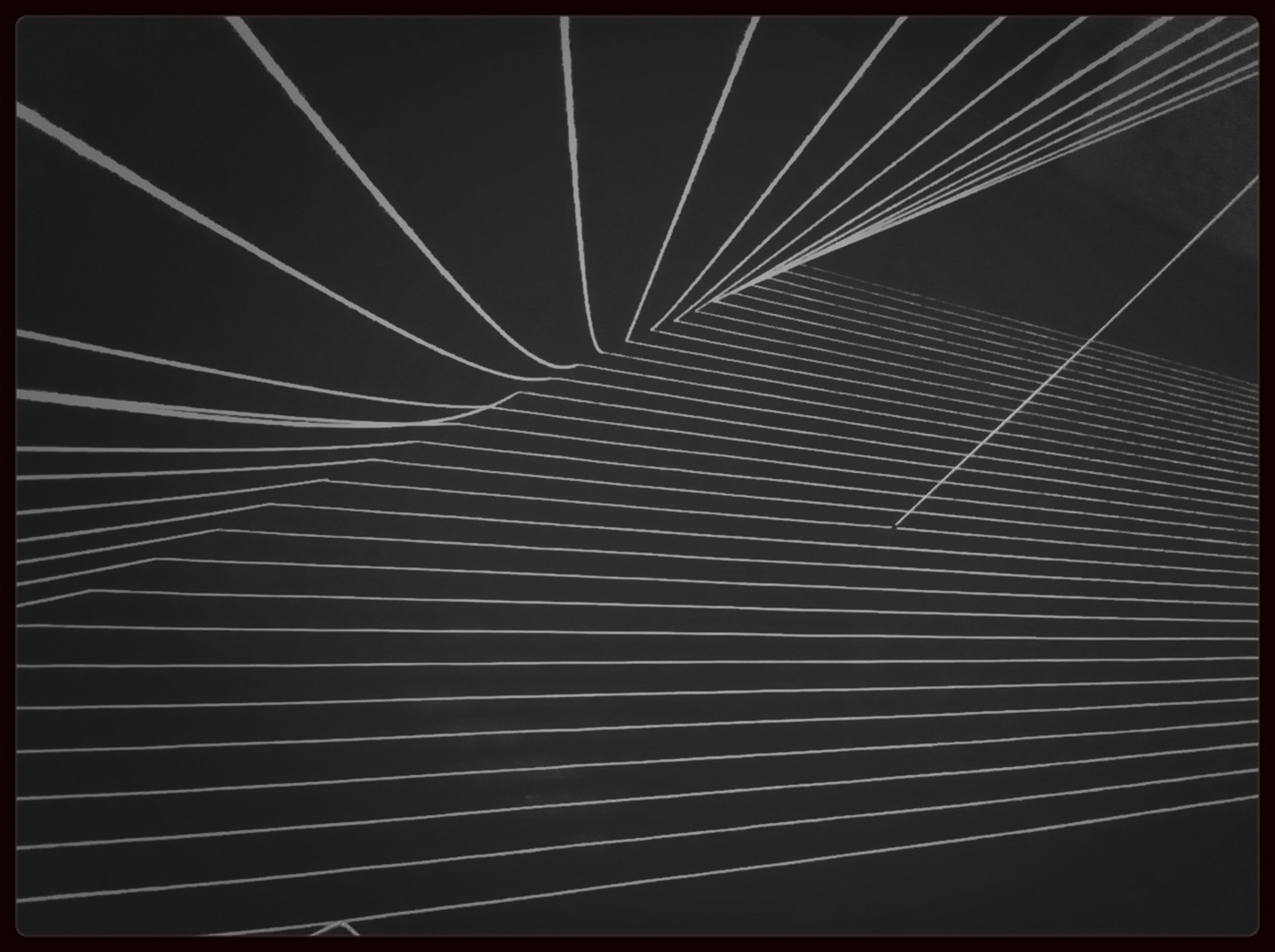 transfer print, auto post production filter, low angle view, pattern, backgrounds, full frame, no people, outdoors, close-up, built structure, night, railing, architecture, connection, metal, sky, textured, design, abstract