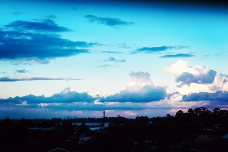 Suburban Views EyeEm Selects Outdoors Blue EyeEm Photography Picoftheday EyeEm Gallery Sky Cloud - Sky Silhouette Scenics - Nature Architecture Nature Beauty In Nature Building Exterior Built Structure No People City Tranquil Scene Tranquility Dusk Water Outdoors Tree Cityscape Blue