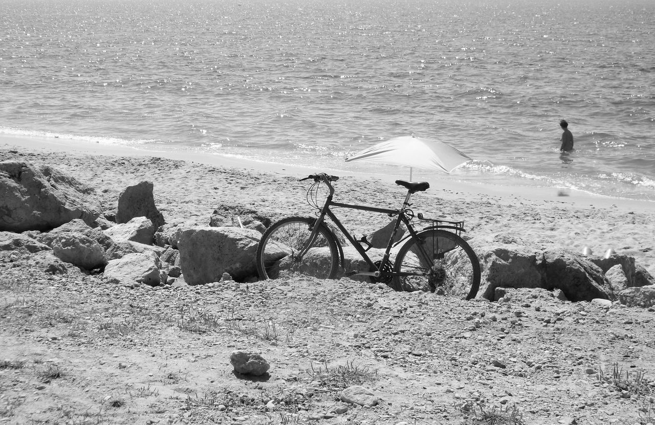 sea, beach, water, nature, transportation, horizon over water, mode of transport, day, sand, outdoors, bicycle, scenics, beauty in nature, no people, sky