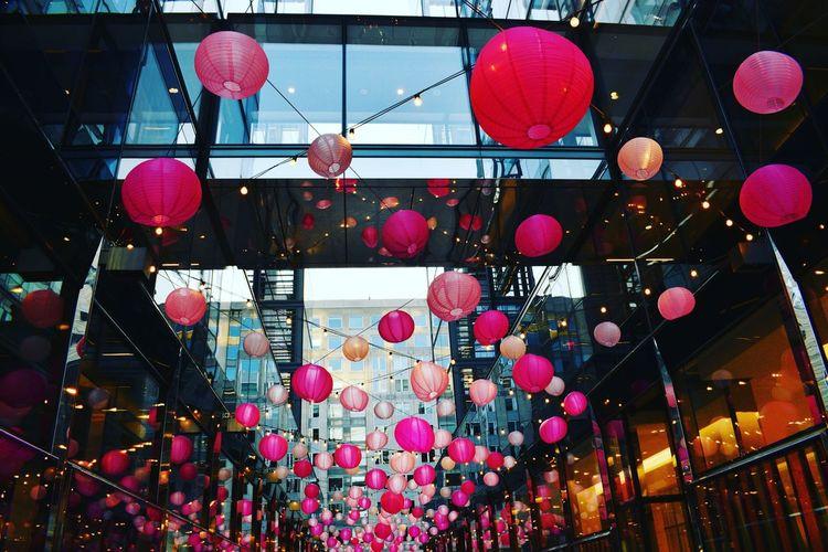 Spring Chinese Lantern Pink Hanging Decoration Outdoors Lighting Equipment Celebration Chinese New Year Lantern Cultures No People Chinese Lantern Festival Night
