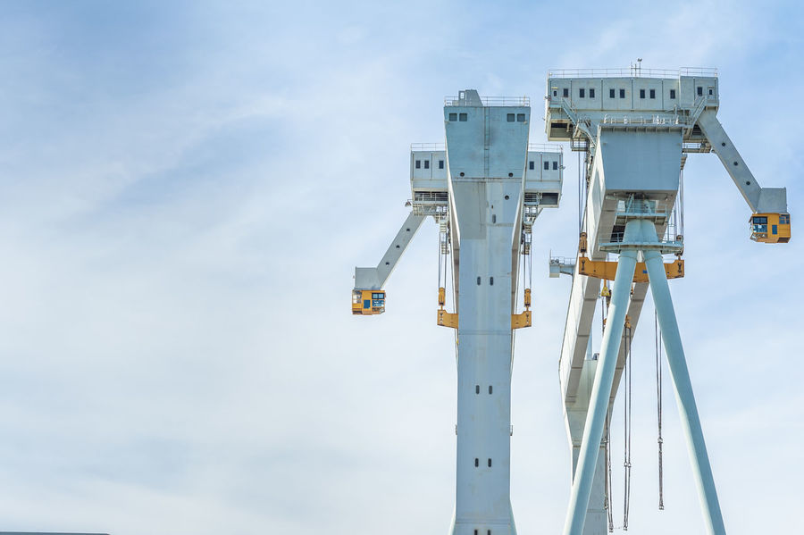 Cranes at work in a shipyard in Italy Construction Crane Shipyard Shipyardlife