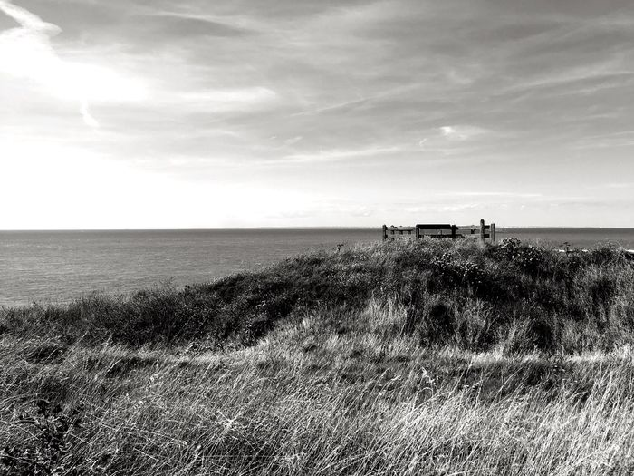 Abandonned Lenkacam ShotOnIphone IPhone Black And White Photography Black & White Black And White France Côte D'Opale Opale Coast Cap Gris-Nez Sea Grass Nature Horizon Over Water Sky Tranquility Scenics Water Tranquil Scene Cloud - Sky Field Outdoors Beauty In Nature