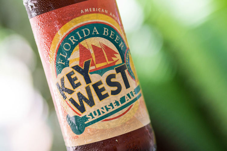 A cold bottle of Key West Sunset Ale Alcohol Ale Bootle Bottle Close-up Day Drink Florida Fresh Holiday