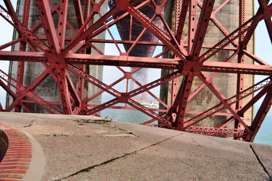 Golden Gate Bridge @ Fort Point 14 Fog San Francisco CA🇺🇸 Fort Point 1861 Civil War Military Base Golden Gate Bridge Built 1937 Bridge Arch Bridge Tower Under Bridge Span Close-up Ferry Passes Under Bridge Diminishing Perspective San Francisco Bay Architecture Architectural Detail Steel Structure  Steel Cross Members