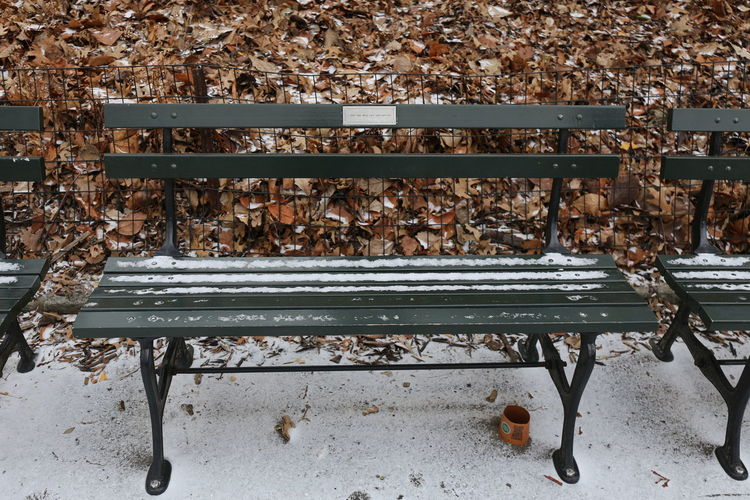 Empty benches on metal bench