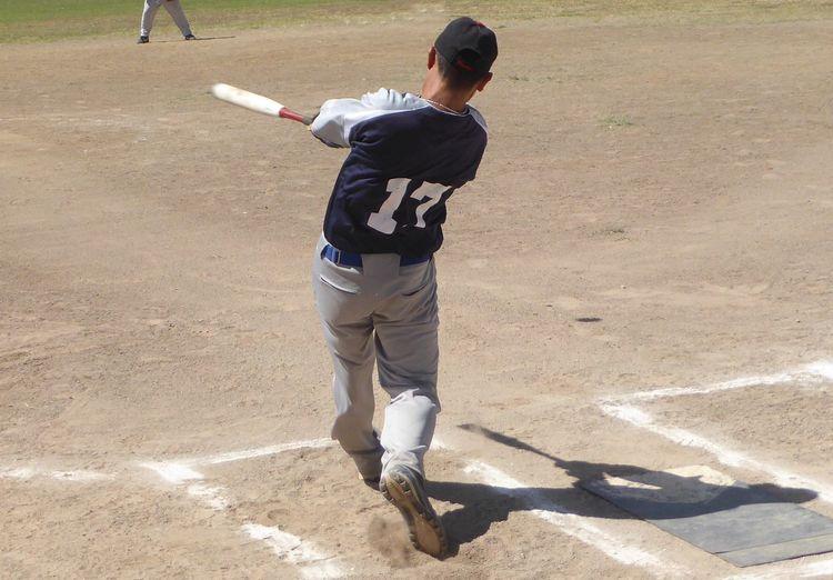 Rear view of man playing baseball