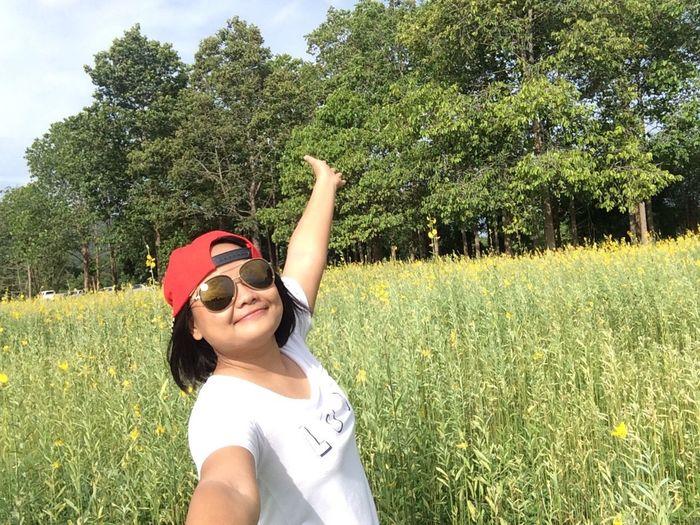 Me Woman Selfie Meadow Smile Happy