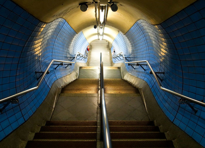 High angle view of empty staircase of subway station