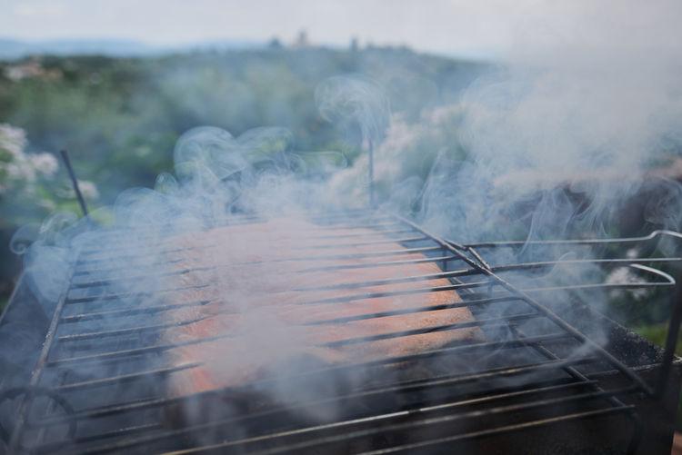 Grilled salmon filet on smoke