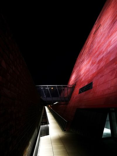 WWII MIIW Gdansk, Poland Gdansk (Danzig) Second World War Museum World War 2 World War 2 Museum Muzeum II Wojny Architecture Nightphotography Red And Black Path Built Structure Illuminated City Outdoors No People City Lights Silent Place Be Alone Night