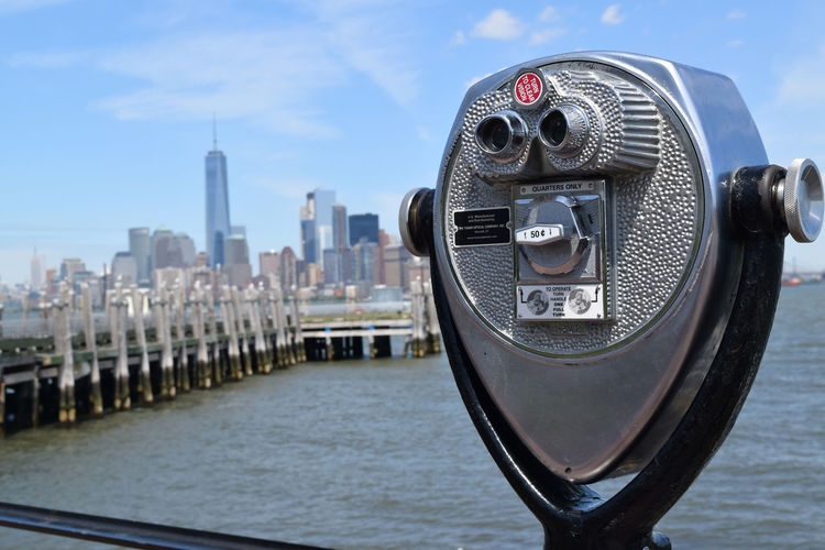 Coin-operated binoculars at observation point in manhattan