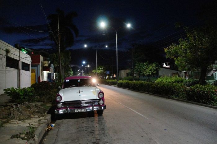 Street in the night Caribbean Cuba, Cuban Car, Night Photography Night, Santiago De Cuba Street Scene Street,
