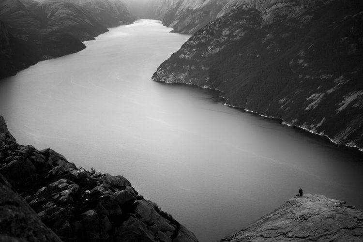 Scenic view of fjord