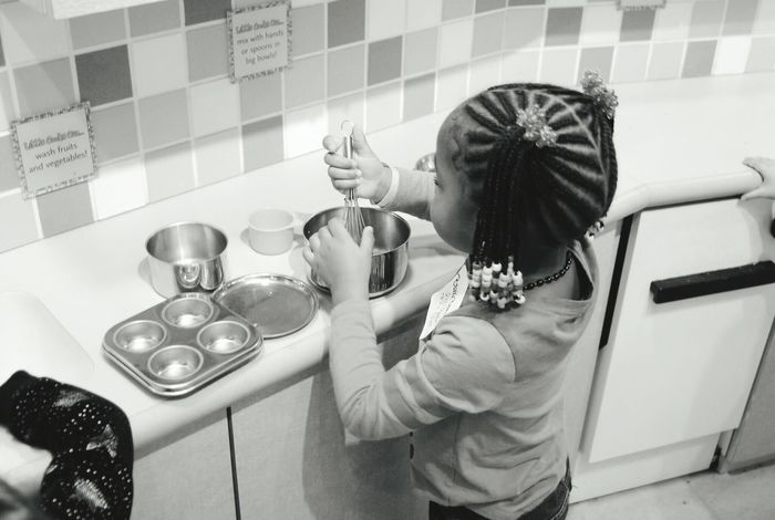 Little Girl Pretend Cooking Children's Museum Braids Cute