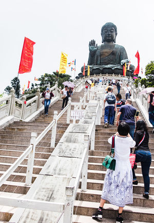 People on the steps up to the Tian Tan Buddha on Lantau Island Big Buddha Buddha Tian Tan Buddha Tian Tan Buddha (Giant Buddha) 天壇大佛 Architecture Art And Craft Belief Big Buddha Hongkong Big Buddha Statue Buddha Statue Buddism Built Structure Group Of People Human Representation Outdoors People Place Of Worship Real People Religion Representation Sculpture Spirituality Staircase Statue