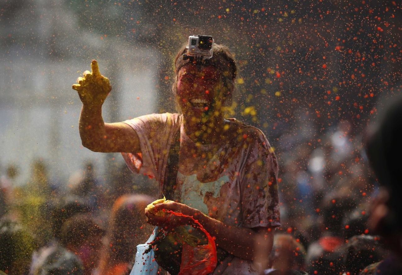 traditional festival, celebration, holi, powder paint, people, day, adult, real people, outdoors, one person, adults only, only men, human hand