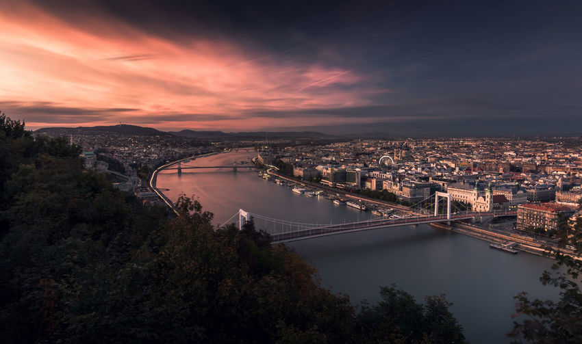 Bridge - Man Made Structure Travel Destinations Cityscape Sunset Architecture High Angle View No People City Outdoors Illuminated Urban Skyline Sky Budapest Colorful Viewpoint Tourism Tourist Attraction  Gellért Hill