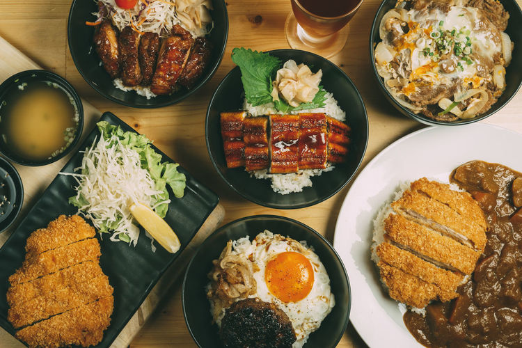 Donburi Japanese Food Bowl Close-up Day Food Food And Drink Freshness Healthy Eating High Angle View Indoors  No People Plate Ready-to-eat Rice - Food Staple Serving Size Table