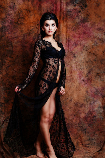 Boudoir Photography Contemplation Elégance Fashion Looking At Camera Standing Boudoir Brunette Dressing Gown Full Length Full Length Portrait Glamour Gothic Style Hairstyle Lace Lingerie Lingerie Model Make Up Portrait Sexygirl Underwear😈