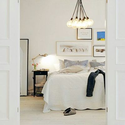 G'night grammer's. Not loving this windstorm so time to get all Cozy up in here...photo via Pinterest & Homesweethome Tumblr Bedroom Whitewalls  Woodfloors Pendant Lighting Gallerywall Textiles Gold Home Decor Noheadboardneeded