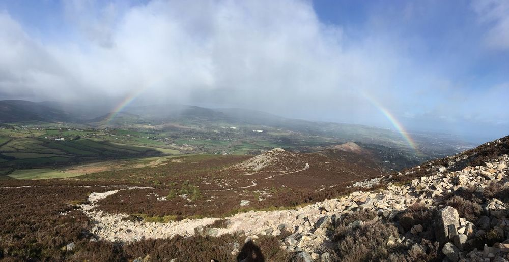 Panoramic view of rainbow from the sugar loaf, Ireland 🇮🇪 2019 IPhoneography Sugar Loaf Mountain Ireland Beauty In Nature Scenics - Nature Cloud - Sky Sky Environment Tranquil Scene Landscape Plant No People Day Idyllic Non-urban Scene Mountain Rainbow Sunlight Outdoors Mountain Peak Tranquility Nature Land My Best Photo