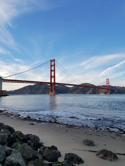 Bridge - Man Made Structure Beach Architecture Built Structure Travel Destinations Sky Outdoors City Suspension Bridge No People Day Backgrounds Scenics San Francisco Bay Waters No Filter/no Edit Landscape Tranquility Purist No Edit No Filter Sunny San Francisco Ca Golden Gate Bridge Towers Completed 1934