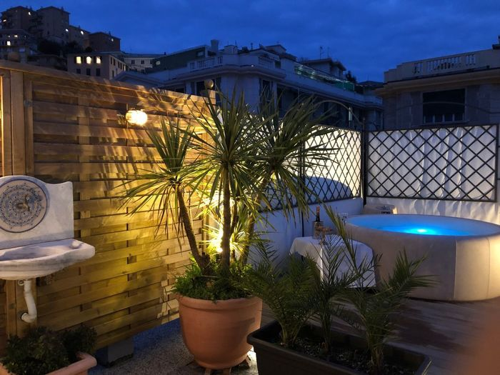 Genoese roof top with whirlpool Terrace Whirlpool. Jacuzzi  Architecture Built Structure Plant Building Exterior Nature Potted Plant Growth Building No People Water Tree Outdoors Residential District Fence House Flower Pot
