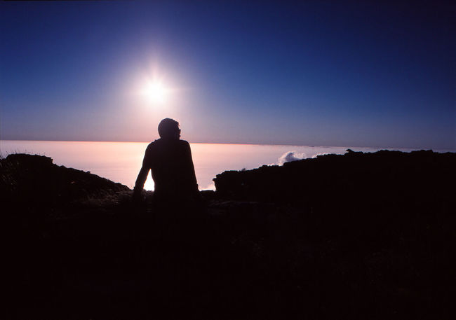 Adult Beauty In Nature Copy Space Land Leisure Activity Looking At View Men Nature One Person Outdoors Rear View Scenics - Nature Silhouette Sky Solitude Standing Sun Sunlight Sunset Three Quarter Length