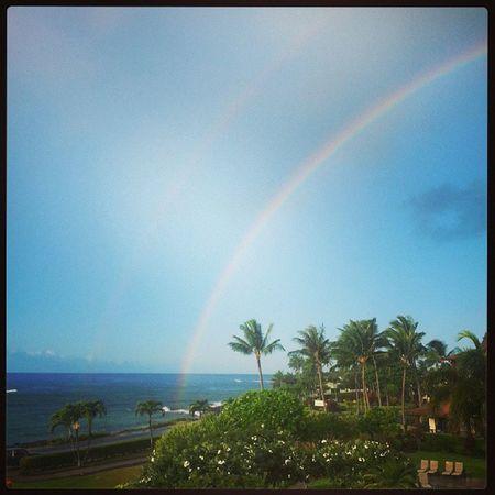 Morning rainbows at 7:30 Hawaii time:) Hawaii Kauai Lawai 3hourdifference breakfast morning rainbows beautiful beach @kaycee_stoner