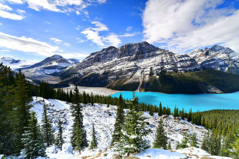 View from Bow Summit of Peyto lake in, Canada. Alberta Bow Summit Canadian Rockies  Peyto Lake Beauty In Nature Canada Cold Temperature Day Iceberg Lake Landscape Mountain Mountain Range Nature No People Outdoors Scenics Sky Snow Snowcapped Mountain Tranquil Scene Tranquility Water Waterfront Winter