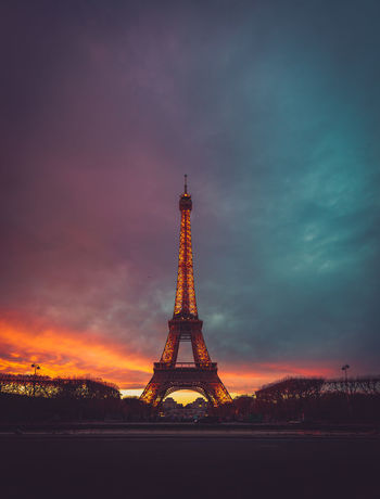 The Eiffel Eiffel Tower Moody Sky Sky And Clouds Architecture Built Structure Cloud - Sky Day History Metal No People Outdoors Sky Sunset Tower Travel Travel Destinations
