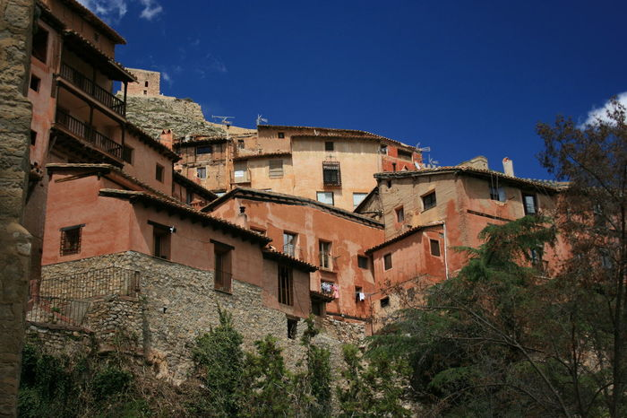 Old spanish town Albarracín climbing the mountain. Albarracín TOWNSCAPE Architecture Blue Building Exterior Built Structure Clear Sky History Low Angle View Medieval Architecture Medieval Town Mountain Town Old Architecture Sky The Past