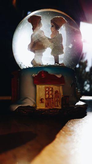 snow globe #Blue #fly #bluesky #love #Loveeeeee #KeepSmiling #EyeEmNewHere #cristmas #photography Built Structure No People Indoors  Night Christmas Decoration Close-up EyeEm Ready   AI Now