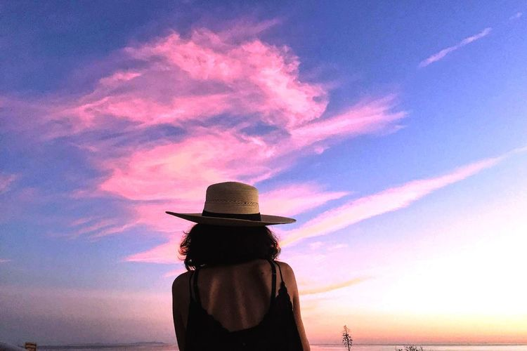 Rear View Of Woman Against Pink Sunset Sky