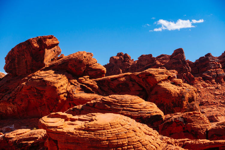 Low angle view of rock formation against sky at valley of fire state park